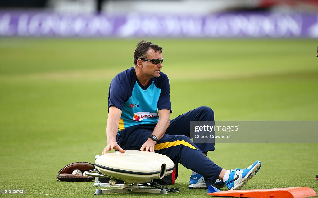 Sri Lanka head coach Graham Ford in action during a warm up exercise during an England & Sri Lanka Nets Session at The Kia Oval on June 28, 2016 in London, England.