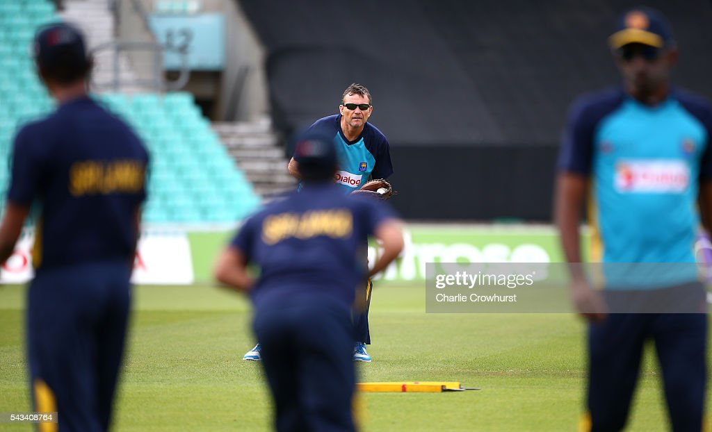 Sri Lanka head coach Graham Ford warms up the players during an England & Sri Lanka Nets Session at The Kia Oval on June 28, 2016 in London, England.
