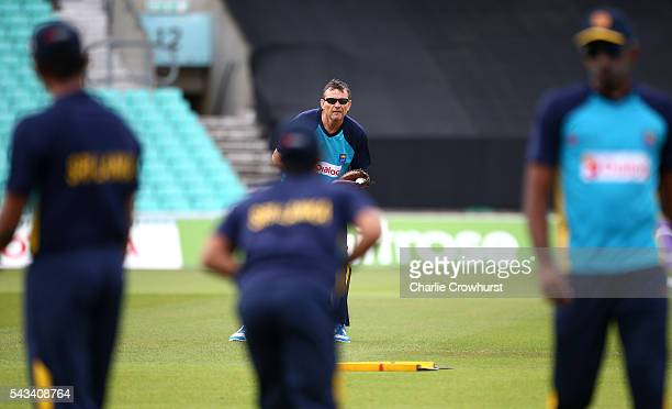 Sri Lanka head coach Graham Ford warms up the players during an England Sri Lanka Nets Session at The Kia Oval on June 28 2016 in London England