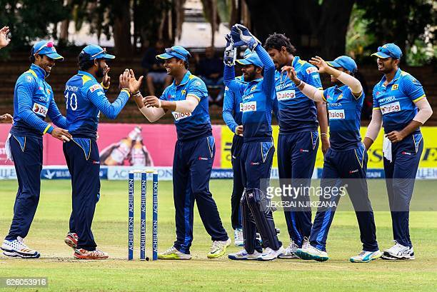 Sri Lanka players celebrate a wicket during the final of the Blue Mountain Achilleion TriSeries played between Sri Lanka and hosts Zimbabwe at the...