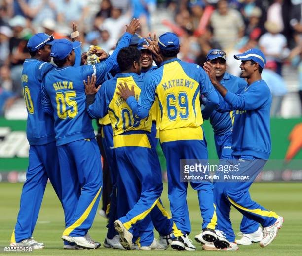 Sri Lanka players celebrate the wicket of Pakistan's Shahid Afridi during the ICC World Twenty20 Super Eights match at Lord's London