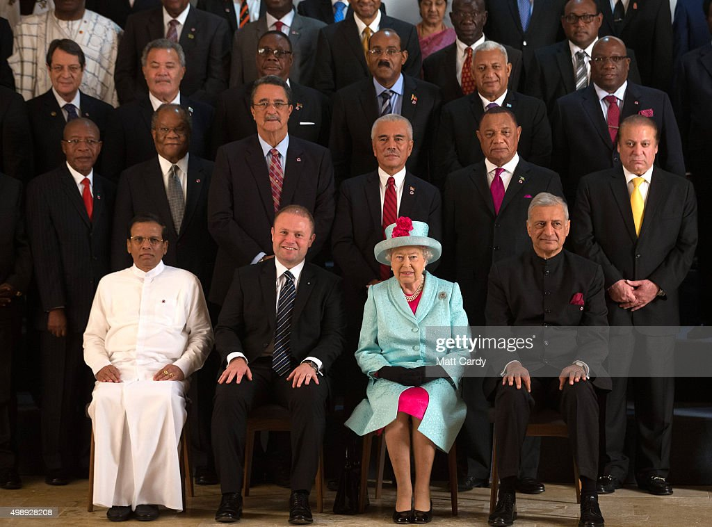 Sri Lanka president Maithriipala Sirisena, Malta Prime Minister Joseph Muscat, Queen Elizabeth II and Commonwealth Secretary General Kamalesh Sharma at CHOGM opening ceremony at the Mediterranean Conference Centre on November 27, 2015 near Valletta, Malta. Queen Elizabeth II, The Duke of Edinburgh, Prince Charles, Prince of Wales and Camilla, Duchess of Cornwall arrived today to attend the Commonwealth Heads of State Summit.