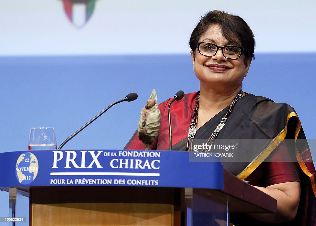 Sri Lanka Radhika Coomaraswamy delivers a speech after receiving the jury's special prize, during the ceremony of release of the Jacques Chirac Foundation's 2012 Award for the prevention of conflicts, on November 22, 2012 at the Quai Branly Museum in Paris.
