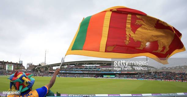 A Sri Lanka supporter waves his flag during the game against England