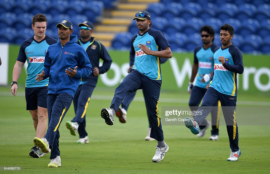 Sri Lanka warm up ahead of a nets session at SWALEC Stadium on July 1, 2016 in Cardiff, England.