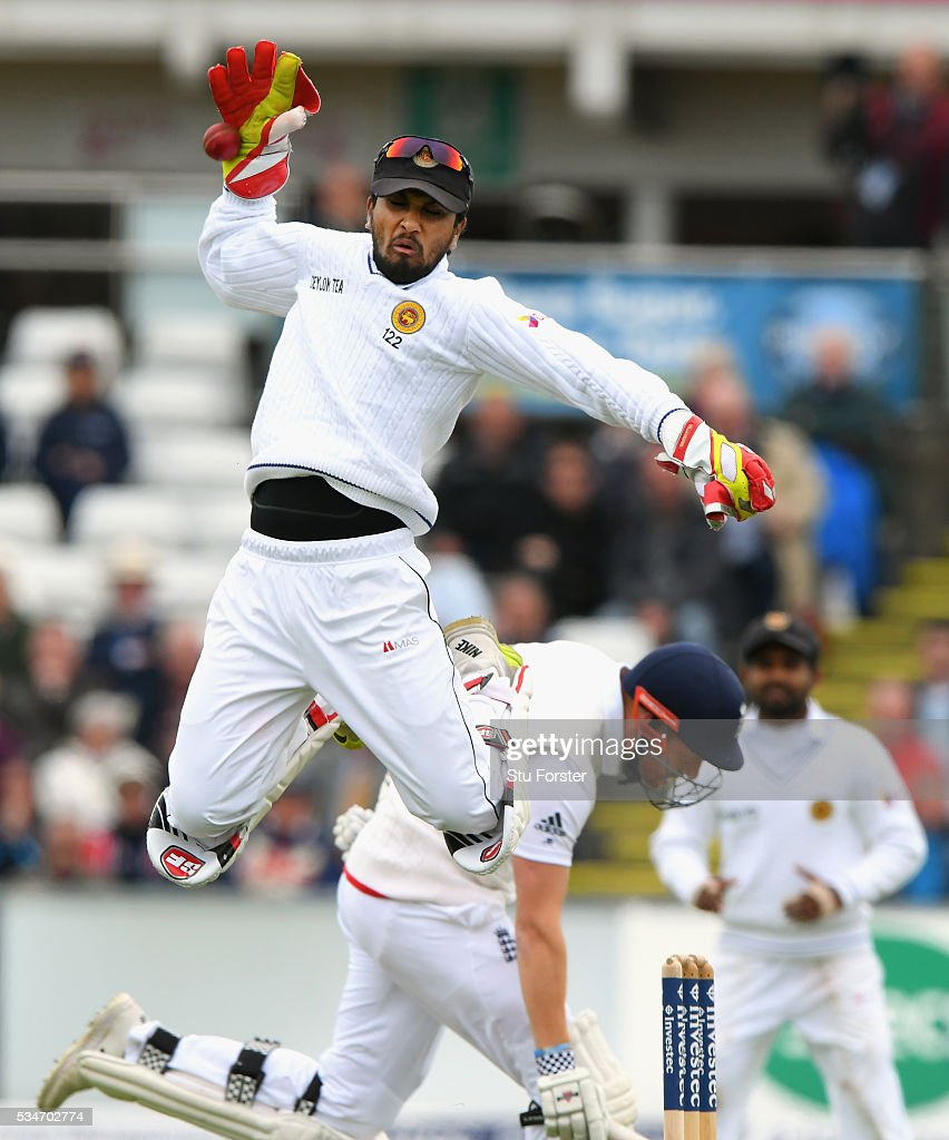 Sri Lanka wickekeeper <a gi-track='captionPersonalityLinkClicked' href=/galleries/search?phrase=Dinesh+Chandimal&family=editorial&specificpeople=4884949 ng-click='$event.stopPropagation()'>Dinesh Chandimal</a> in action during day one of the 2nd Investec Test match between England and Sri Lanka at Emirates Durham ICG on May 27, 2016 in Chester-le-Street, United Kingdom.