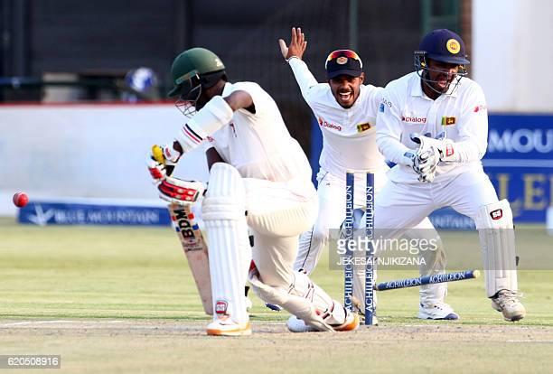 Sri Lanka wicket keeper Kusal Janith Perera celebrates Sri Lanka's victory during the fifth day of the test match between Sri Lanka and hosts...