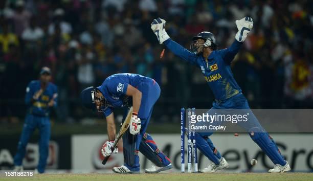 Sri Lanka wicketkeeper Kumar Sangakkara celebrates after Ravi Bopara of England is bowled by Jeevan Mendis during the ICC World Twenty20 2012 Super...