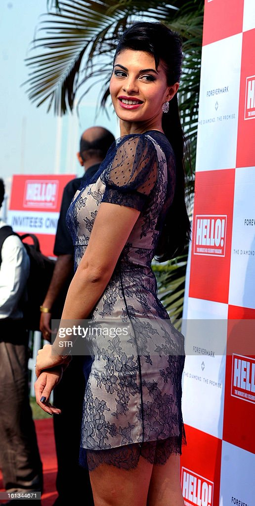 Sri Lankan actress and model and Bollywood film actress Jacqueline Fernandez poses during the 'Hello! Classic Derby Race 2013' in Mumbai on February 10, 2013.