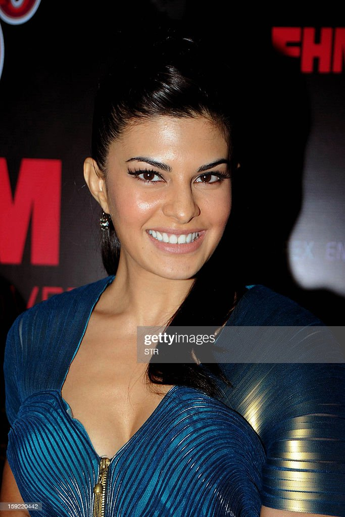 Sri Lankan and Bollywood film actress and model Jacqueline Fernandes poses during the launchof SOL Beer in Mumbai on January 9, 2013.