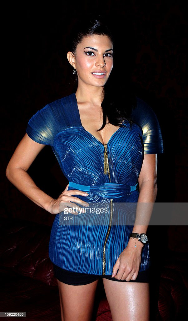 Sri Lankan and Bollywood film actress and model Jacqueline Fernandes poses during the launch of SOL Beer in Mumbai on January 9, 2013.