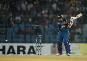 Sri Lankan batsman Angelo Perera is bowled out by Bangladesh captain Mashrafe Bin Mortaza during the second T20 cricket match between Bangladesh and...