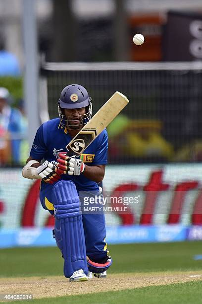 Sri Lankan batsman Dimuth Karunaratne plays a shot during the Pool A 2015 Cricket World Cup cricket match between Sri Lanka and Afghanistan at the...