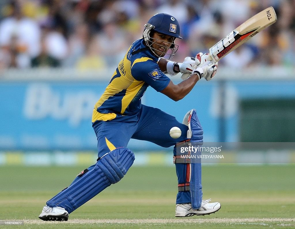 Sri Lankan batsman Dinesh Chandimal plays a shot during the first one-day international between Australia and Sri Lanka at the Melbourne Cricket Ground on January 11, 2013.