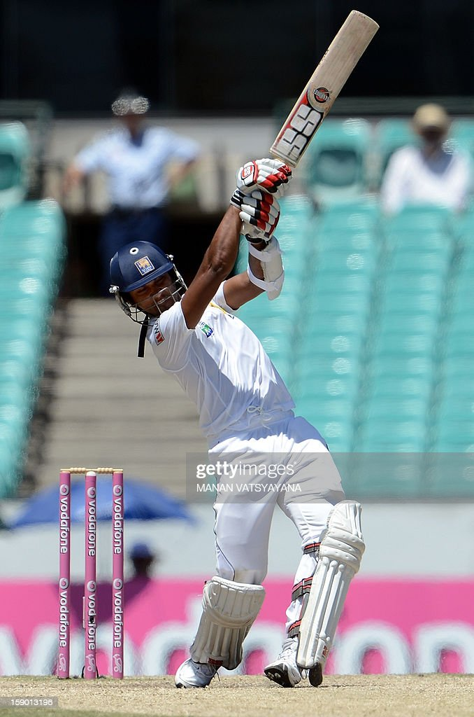 Sri Lankan batsman Dinesh Chandimal plays a shot on the fourth day of the third cricket Test match between Australia and Sri Lanka at the Sydney Cricket Ground on January 6, 2013.