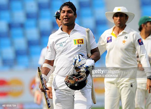 Sri Lankan batsman Kumar Sangakkara leaves the field after Sri Lanka won the second cricket Test match between Pakistan and Sri Lanka at the Dubai...
