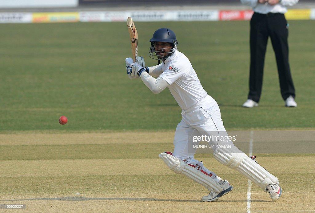 Sri Lankan batsman Kumar Sangakkara plays a shot during the second day of the second Test match between Bangladesh and Sri Lanka at The Zahur Ahmed...
