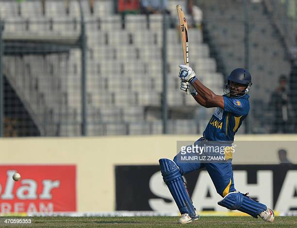 Sri Lankan batsman Kumar Sangakkara plays a shot during the second OneDay International cricket match between Bangladesh and Sri Lanka at the...