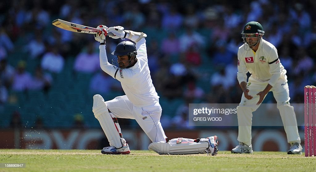 Sri Lankan batsman Lahiru Thirimanne (C), drives the ball on day one of the third cricket Test between Sri Lanka and Australia at the Sydney Cricket Ground on January 3, 2013. IMAGE STRICTLY RESTRICTED TO EDITORIAL USE - STRICTLY NO COMMERCIAL USE AFP PHOTO / Greg WOOD