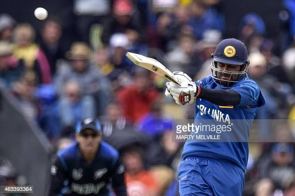 Sri Lankan batter Lahiru Thirimanne plays a shot during the Pool A 2015 Cricket World Cup match between Sri Lanka and New Zealand at Hagley Oval in...