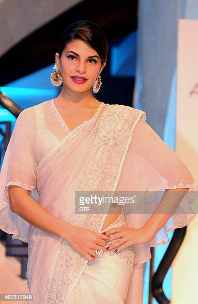 Sri Lankan Bollywood actress Jacqueline Fernandez attends the grand finale of the Lakme Fashion Week summer/resort 2015 in Mumbai late on March 22...