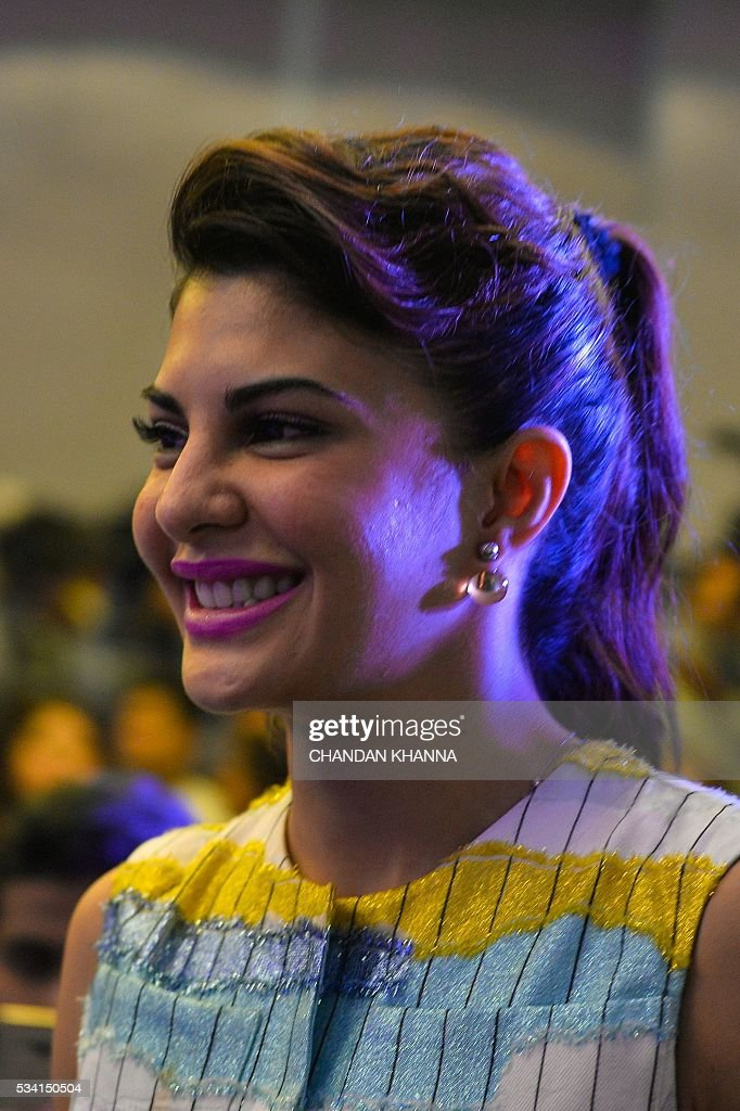 Sri Lankan Bollywood actress Jacqueline Fernandez looks on during a promotional event of the forthcoming Hindi film 'Housefull 3' in New Delhi on May 25, 2016. / AFP / CHANDAN