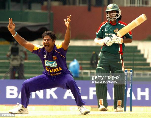 Sri Lankan bowler Chaminda Vaas appeals unsuccessfully for the wicket of Bangladesh batsman Javed Omer during the One Day International cricket match...