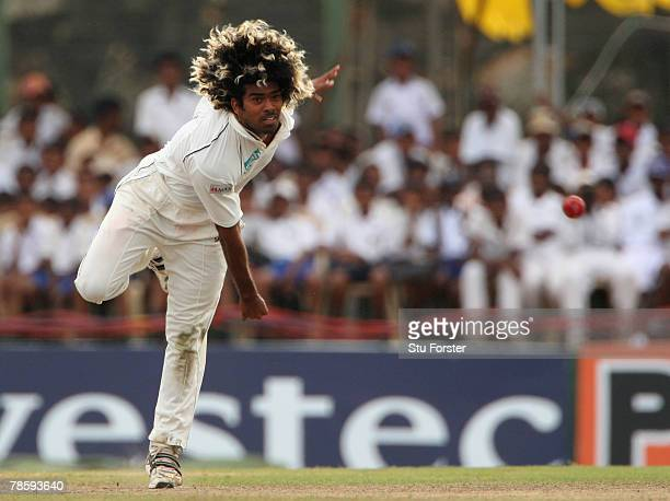 Sri Lankan bowler Lasith Malinga bowls during day 3 of the 3rd and final Test Match between Sri Lanka and England at Galle International Stadium on...