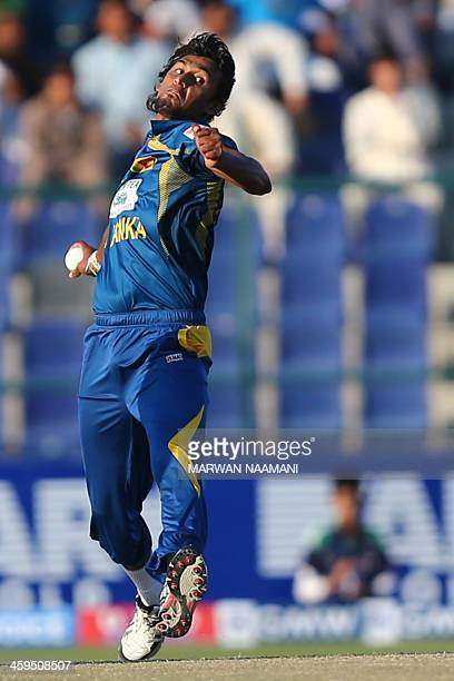 Sri Lankan bowler Suranga Lakmal delivers a ball during the fifth and final One Day International cricket match between Pakistan and Sri Lanka in Abu...