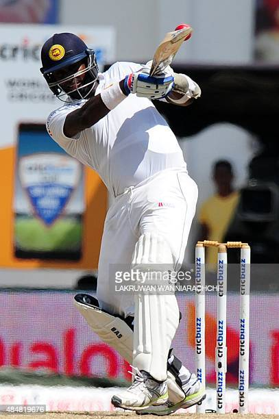 Sri Lankan captain Angelo Mathews plays a shot during the third day of the second Test match between Sri Lanka and India at the P Sara Oval Cricket...