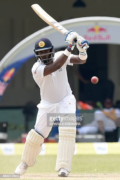 Sri Lankan captain Angelo Mathews plays a shot during the third day of the second Test match between Sri Lanka and the West Indies at the P Sara Oval...