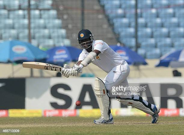 Sri Lankan captain Angelo Mathews plays a shot on during the third day of the first Test match between Bangladesh and Sri Lanka at the The...