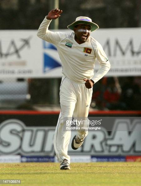 Sri Lankan captain Mahela Jayawardene celebrates their victory over the Pakistan by 209 runs in the forth day of first test match between Sri Lanka...