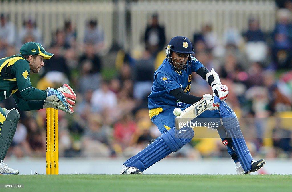 Sri Lankan captain Mahela Jayawardene makes a cut against Australia during their fifth One-Day International match in Hobart on January 23, 2013.