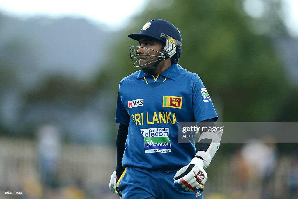 Sri Lankan captain Mahela Jayawardene walks off the field after being caught out by Mitchell Starc of Australia (not pictured) during their fifth One-Day International match in Hobart on January 23, 2013.