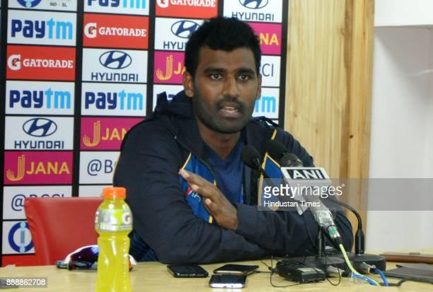 Sri Lankan captain Thisara Perera during a press conference at Himachal Pradesh Cricket Association Stadium on December 9 2017 in Dharamsala India