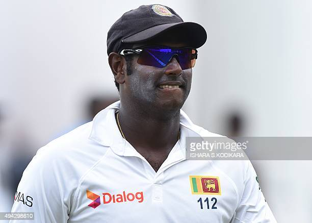 Sri Lankan cricket captain Angelo Mathews looks on after victory in the Test match series between Sri Lanka and the West Indies at the P Sara Oval...