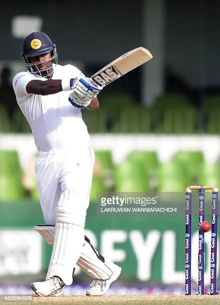 Sri Lankan cricket captain Angelo Mathews plays a shot during the opening day of the second Test match between Sri Lanka and Pakistan at The...
