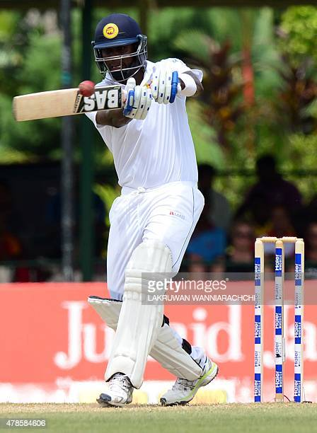 Sri Lankan cricket captain Angelo Mathews plays a shot during the second day of the second Test cricket match between Sri Lanka and Pakistan at the P...