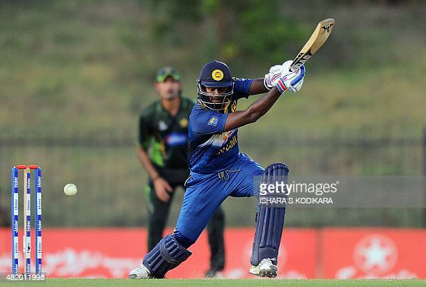 Sri Lankan cricket captain Angelo Mathews plays a shot during the fifth and final one day international cricket match between Sri Lanka and Pakistan...