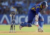 Sri Lankan cricket team captain Kumara Sangakkara avoids being runout during the ICC Cricket World Cup 2011 final match between Sri lanka and India...