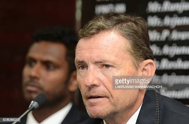 Sri Lankan cricket team head coach Graham Ford speaks at a press conference as the team prepare to leave for their forthcoming England tour in...