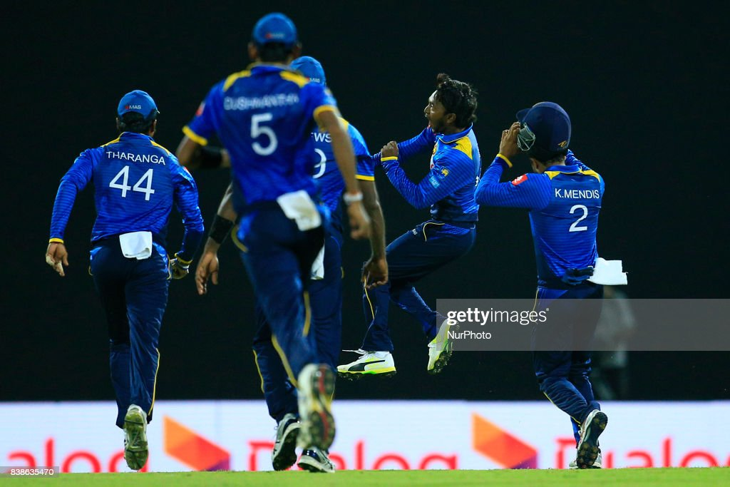 Sri Lankan cricketer and spinning bowler Akila Dananjaya in celebration mood after taking 5 wickets during the 2nd One Day International cricket match between Sri Lanka and India at the Pallekele international cricket stadium at Kandy, Sri Lanka on Thursday 24 August 2017.