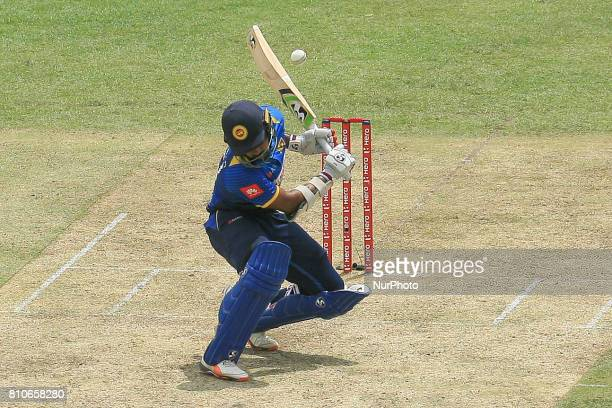 Sri Lankan cricketer Danushka Gunathilaka avoids a bouncer during the 4th One Day International cricket matcth between Sri Lanka and Zimbabwe at...