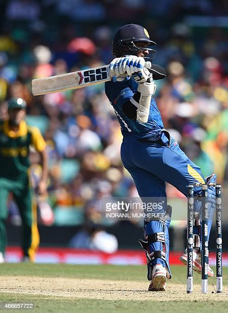 Sri Lankan cricketer Kumar Sangakkara plays a shot during the 2015 Cricket World Cup quarterfinal match between Sri Lanka and South Africa in Sydney...