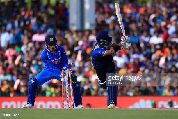 Sri Lankan cricketer Kusal Mendis is bowled out during the 1st One Day International cricket match bewtween Sri Lanka and India at Dambulla...