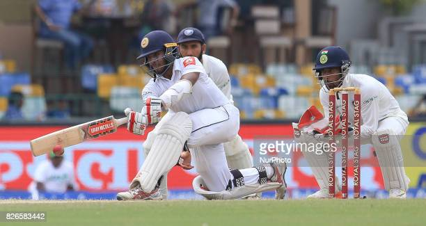 Sri Lankan cricketer Kusal Mendis plays a shot during the 3rd Day's play in the 2nd Test match between Sri Lanka and India at the SSC international...