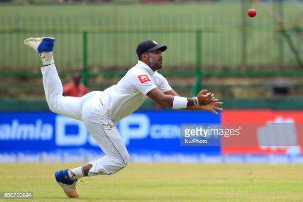 Sri Lankan cricketer Lahiru Kumara drops a catch during the 1st Day's play in the 2nd Test match between Sri Lanka and India at the Pallekele...