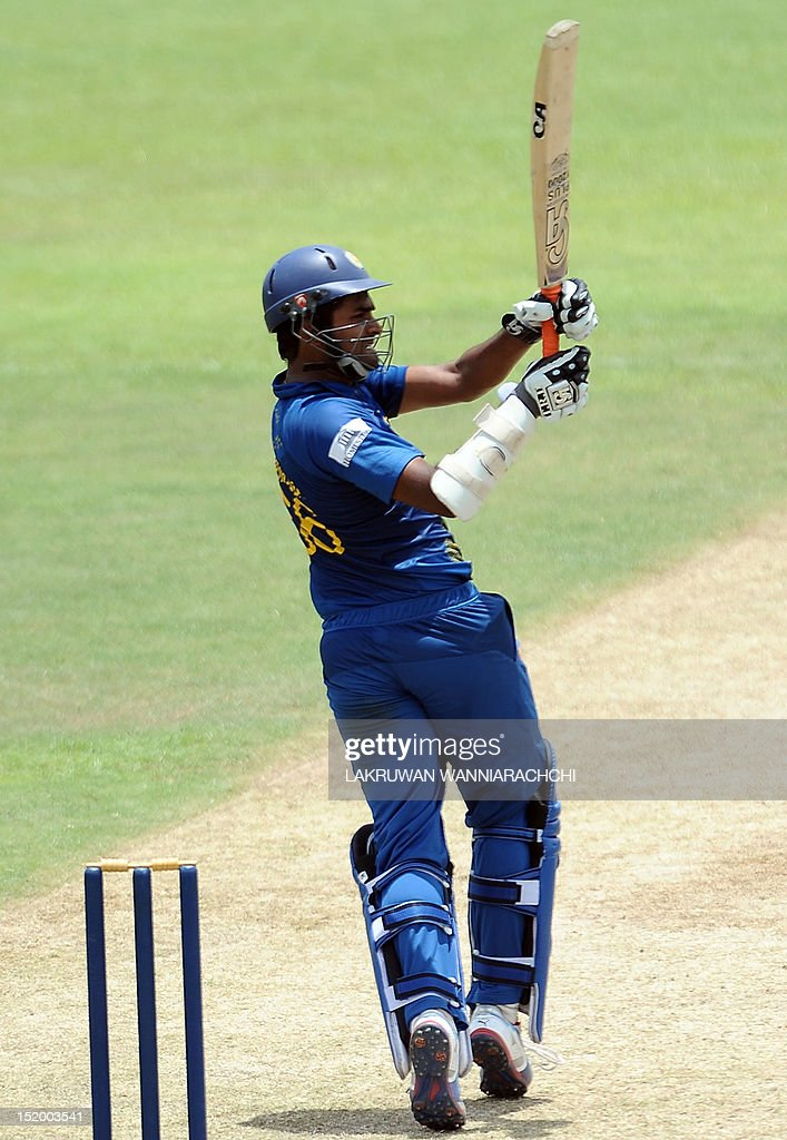 Sri Lankan cricketer Lahiru Thirimanne plays a shot during an ICC Twenty20 Cricket World Cup warm-up match between Sri Lanka and India at The P. Sara Oval Ground in Colombo on September 15, 2012. The two-yearly tournament in cricket's shortest format will be played from September 18 to October 7, with Hambantota holding three matches, Pallekele nine and capital Colombo fifteen.