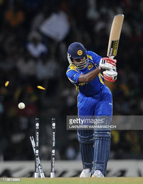 Sri Lankan cricketer Mahela Jayawardene has his wicket shattered by Pakistan bowler Shoaib Akhtar during the Group A match in the World Cup Cricket...